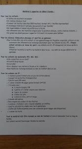 liste fournitures Mme Huet